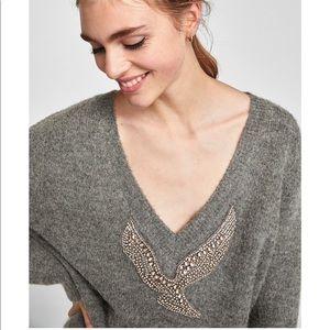Zara Grey Knit Silver Detailed Bird